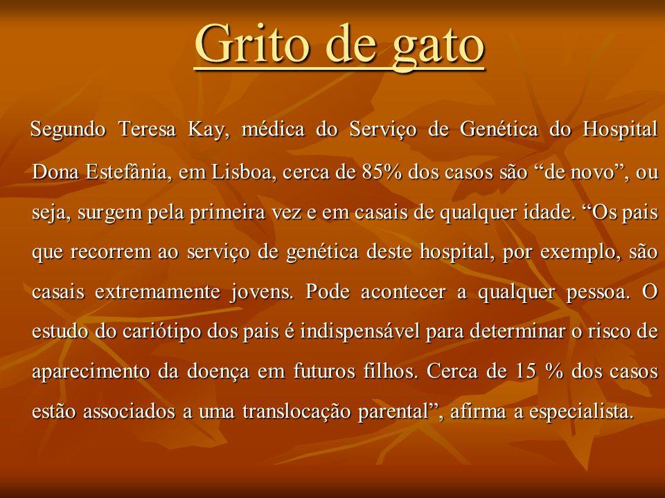 Grito de gato Segundo Teresa Kay, médica do Serviço de Genética do Hospital Dona Estefânia, em Lisboa, cerca de 85% dos casos são de novo, ou seja, su