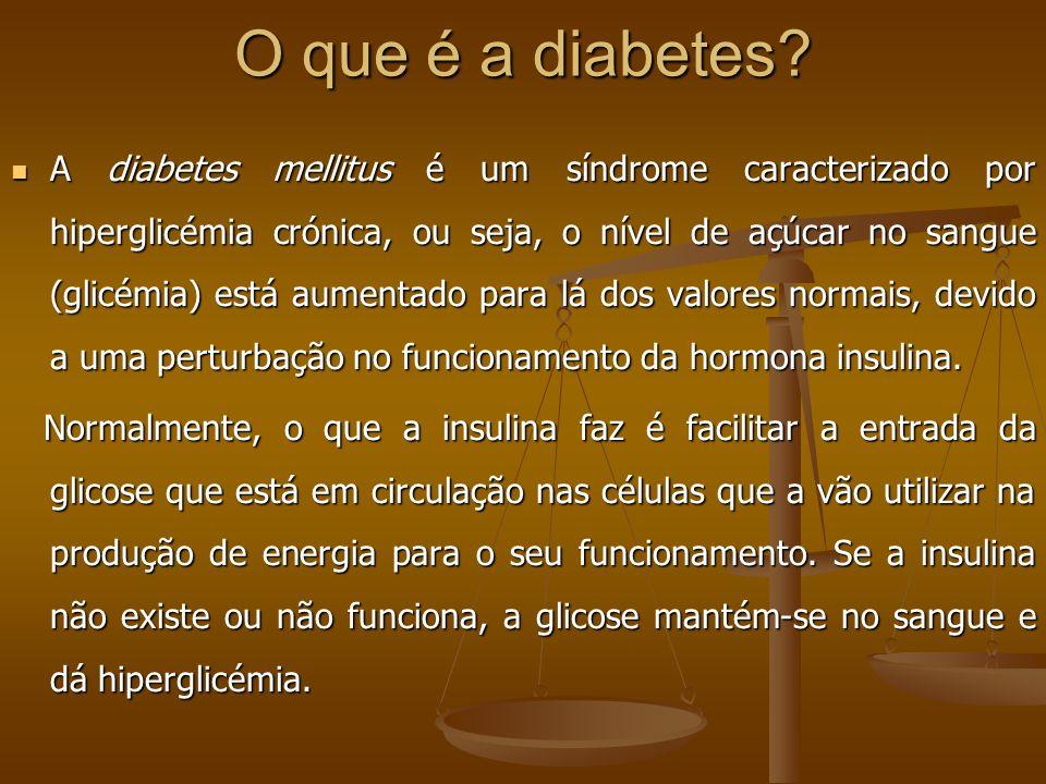 O que é a diabetes? A diabetes mellitus é um síndrome caracterizado por hiperglicémia crónica, ou seja, o nível de açúcar no sangue (glicémia) está au