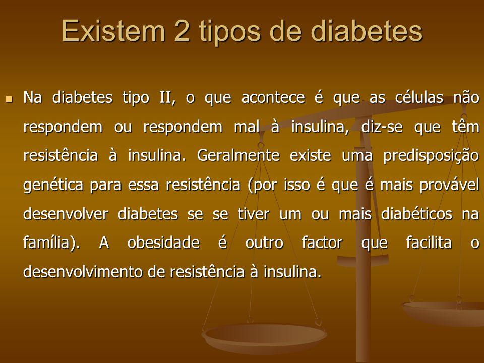 Existem 2 tipos de diabetes Na diabetes tipo II, o que acontece é que as células não respondem ou respondem mal à insulina, diz-se que têm resistência