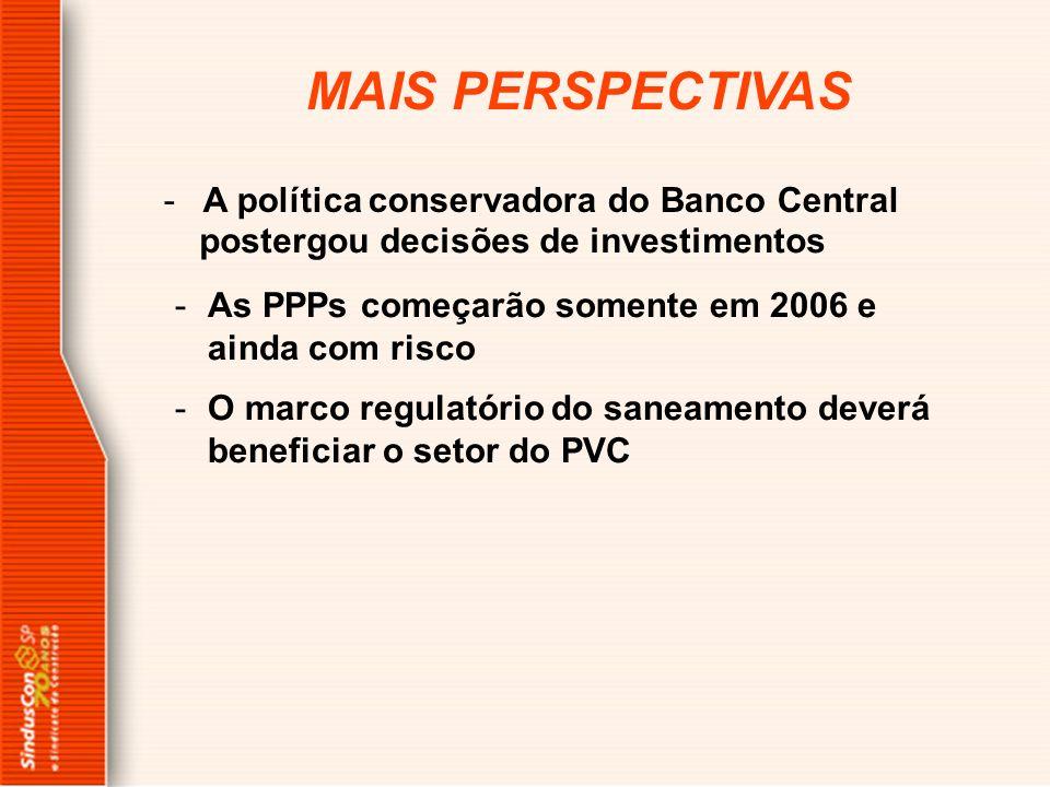 MAIS PERSPECTIVAS -A política conservadora do Banco Central -As PPPs começarão somente em 2006 e ainda com risco -O marco regulatório do saneamento de