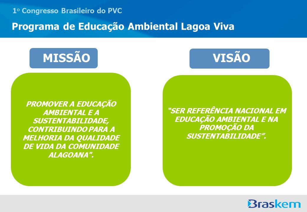 1 o Congresso Brasileiro do PVC Programa de Educação Ambiental Lagoa Viva MISSÃO PROMOVER A EDUCAÇÃO AMBIENTAL E A SUSTENTABILIDADE, CONTRIBUINDO PARA