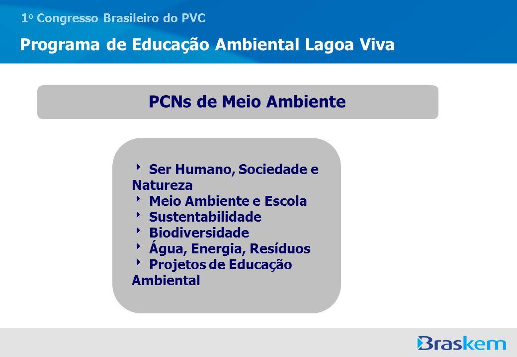 1 o Congresso Brasileiro do PVC Programa de Educação Ambiental Lagoa Viva Formação continuada Áreas de Atuação Grupo de estudo interdisciplinar responsável por promover momentos de estudo coletivo, debates, oficinas, simulações e estudos do meio.