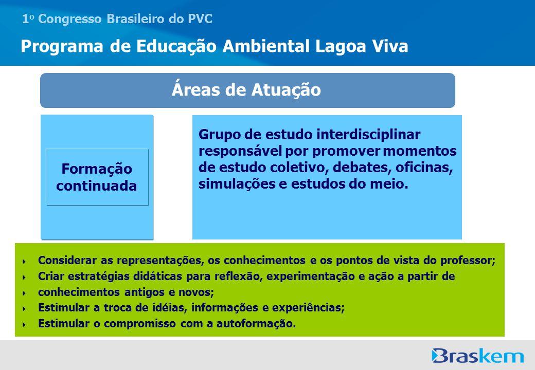1 o Congresso Brasileiro do PVC Programa de Educação Ambiental Lagoa Viva Formação continuada Áreas de Atuação Grupo de estudo interdisciplinar respon
