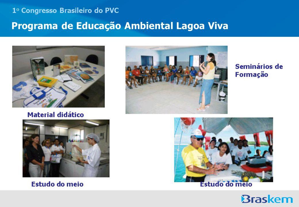 1 o Congresso Brasileiro do PVC Programa de Educação Ambiental Lagoa Viva Sustentabilidade sócio ambiental, desenvolvendo cursos e oficinas para alunos e comunidade onde a escola está inserida, contribuindo para a geração de trabalho e renda.