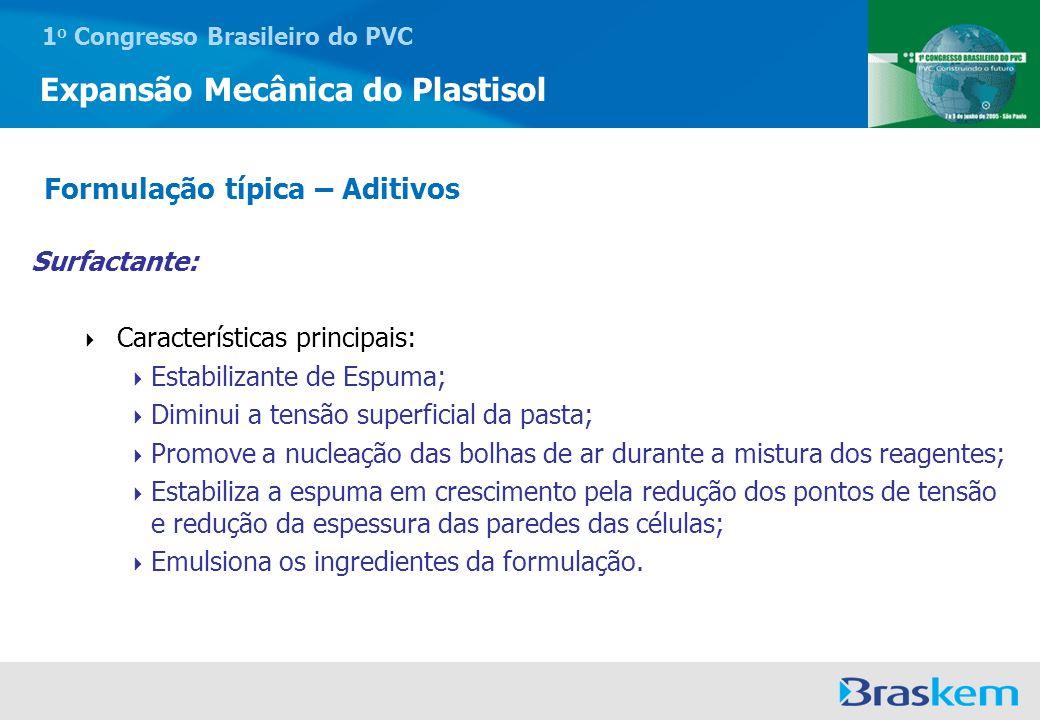 1 o Congresso Brasileiro do PVC Expansão Mecânica do Plastisol Surfactante: Características principais: Estabilizante de Espuma; Diminui a tensão supe