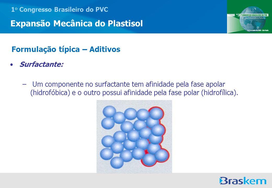 1 o Congresso Brasileiro do PVC Expansão Mecânica do Plastisol Surfactante: – Um componente no surfactante tem afinidade pela fase apolar (hidrofóbica