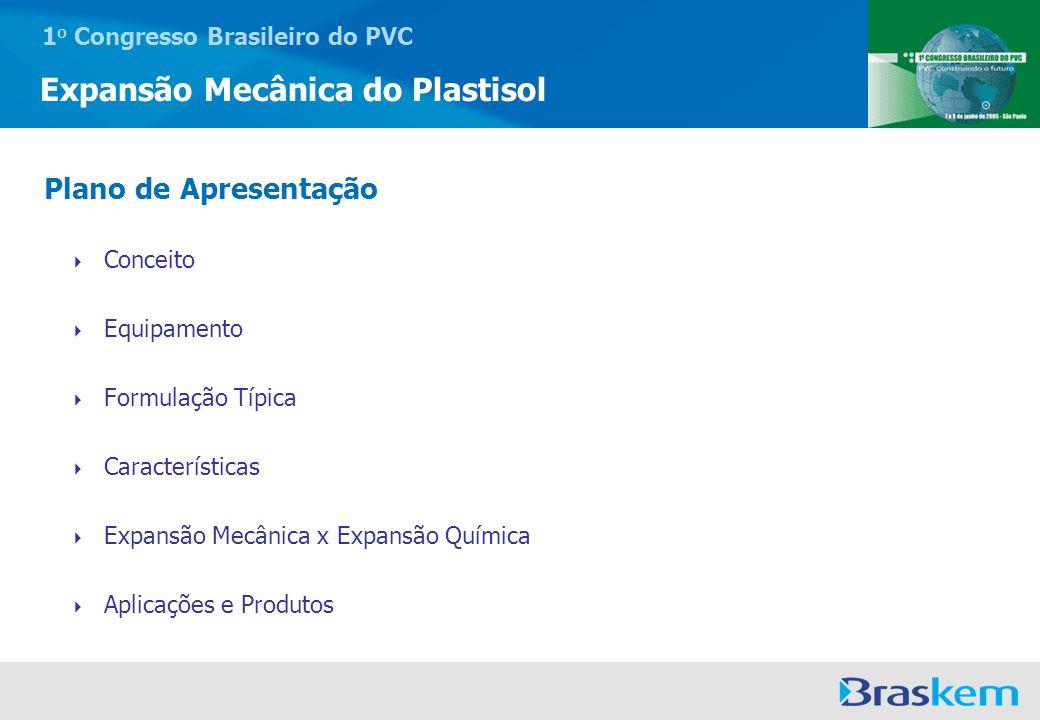 1 o Congresso Brasileiro do PVC Expansão Mecânica do Plastisol Conceito Equipamento Formulação Típica Características Expansão Mecânica x Expansão Quí