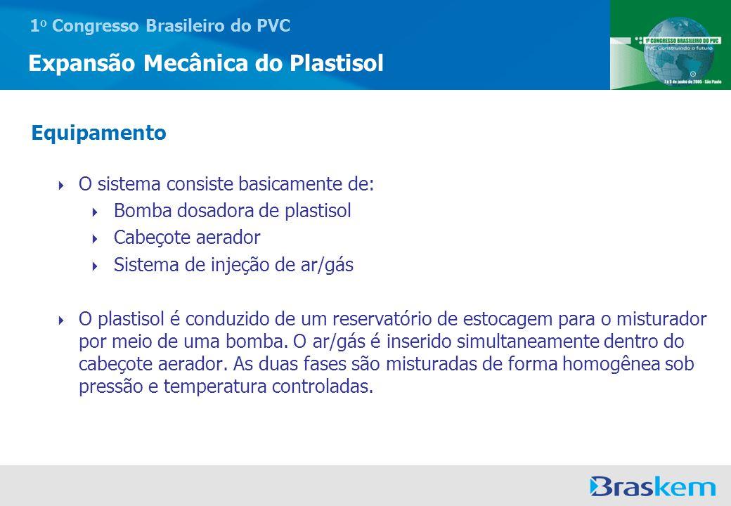 1 o Congresso Brasileiro do PVC Expansão Mecânica do Plastisol O sistema consiste basicamente de: Bomba dosadora de plastisol Cabeçote aerador Sistema