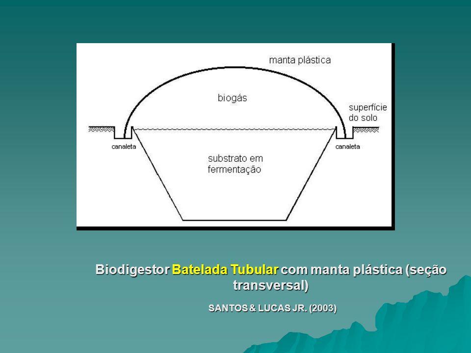 Biodigestor Batelada Tubular com manta plástica (seção transversal) SANTOS & LUCAS JR. (2003) SANTOS & LUCAS JR. (2003)