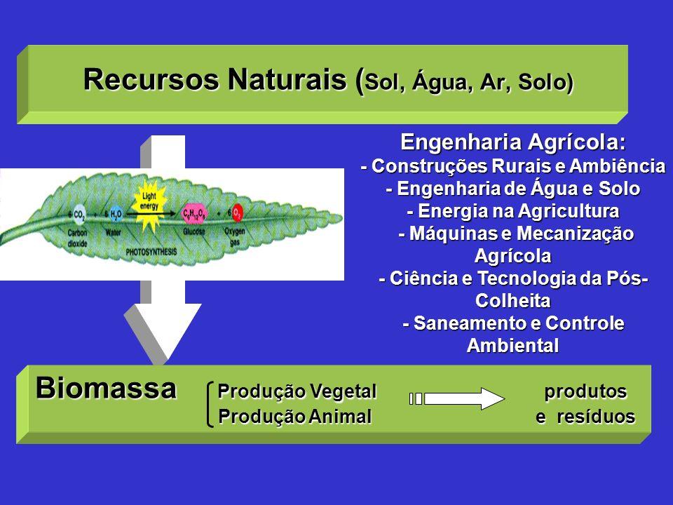 Recursos Naturais ( Sol, Água, Ar, Solo) Engenharia Agrícola: - Construções Rurais e Ambiência - Engenharia de Água e Solo - Energia na Agricultura -