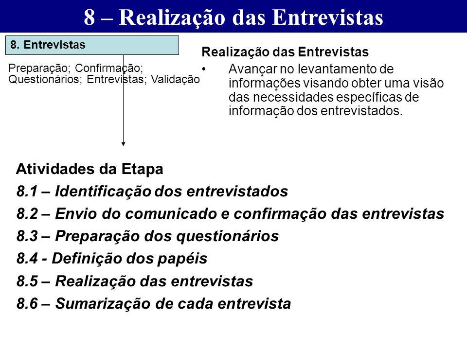 8. Entrevistas Preparação; Confirmação; Questionários; Entrevistas; Validação Realização das Entrevistas Avançar no levantamento de informações visand
