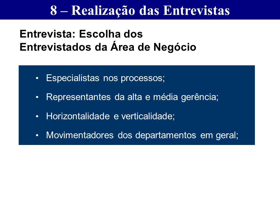 Especialistas nos processos; Representantes da alta e média gerência; Horizontalidade e verticalidade; Movimentadores dos departamentos em geral; Entr