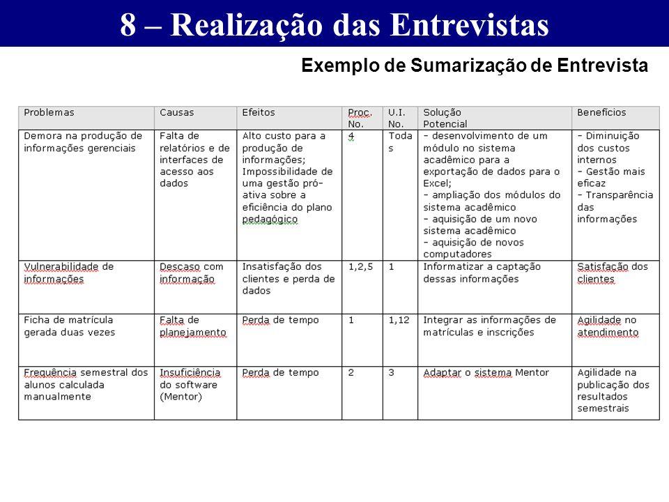 8 – Realização das Entrevistas Exemplo de Sumarização de Entrevista