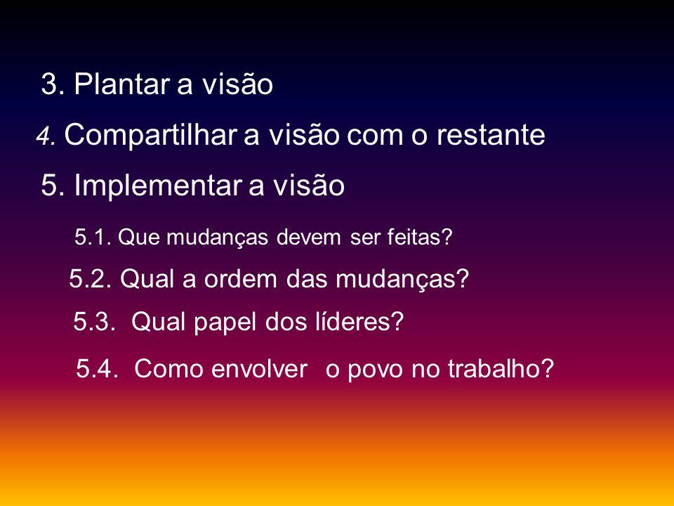 3. Plantar a visão 4. Compartilhar a visão com o restante 5. Implementar a visão 5.1. Que mudanças devem ser feitas? 5.2. Qual a ordem das mudanças? 5