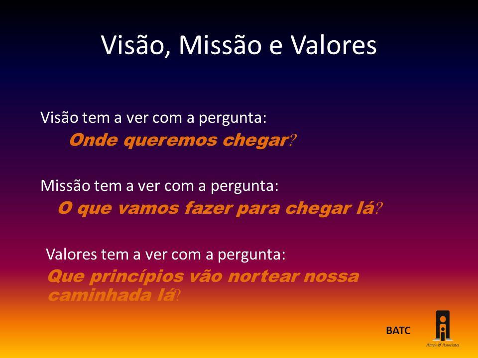 Visão, Missão e Valores Visão tem a ver com a pergunta: Onde queremos chegar Missão tem a ver com a pergunta: O que vamos fazer para chegar lá Valores