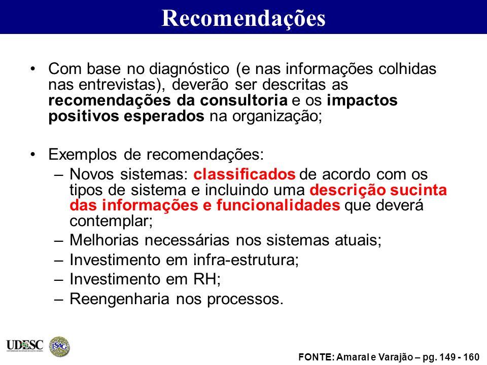 Recomendações Com base no diagnóstico (e nas informações colhidas nas entrevistas), deverão ser descritas as recomendações da consultoria e os impacto