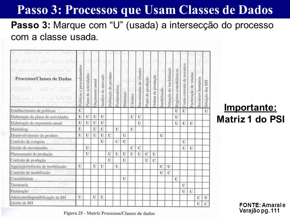 Passo 3: Processos que Usam Classes de Dados FONTE: Amaral e Varajão pg. 111 Passo 3: Marque com U (usada) a intersecção do processo com a classe usad