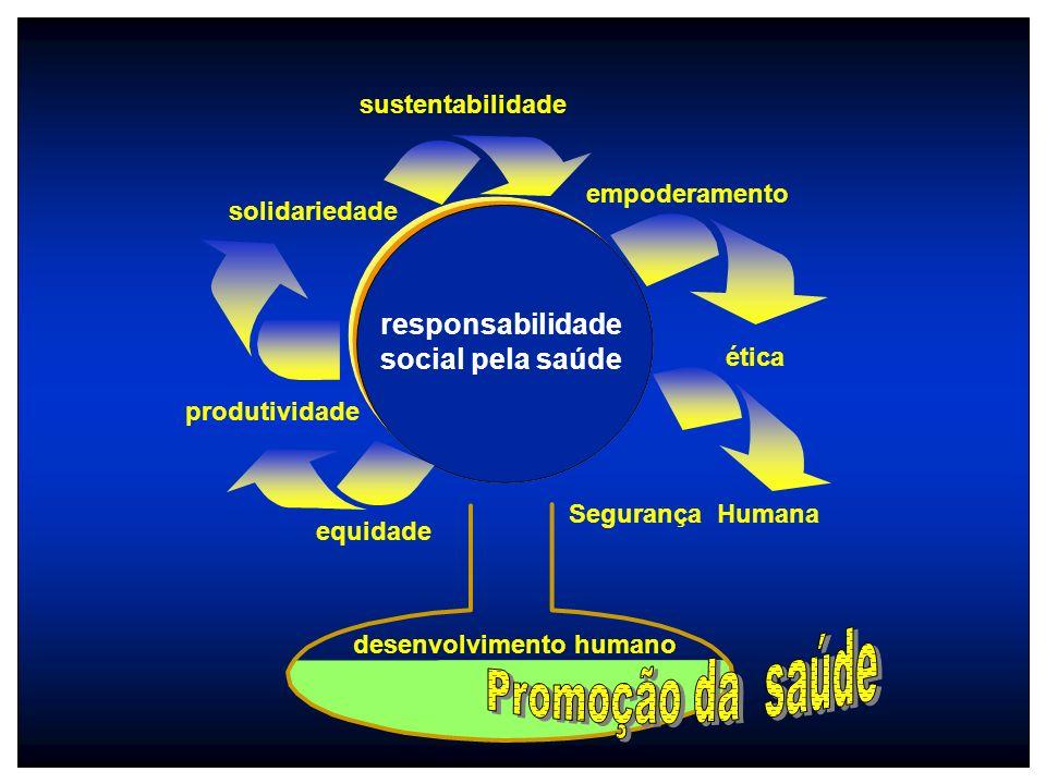 produtividade equidade sustentabilidade empoderamento Segurança Humana ética solidariedade responsabilidade social pela saúde desenvolvimento humano