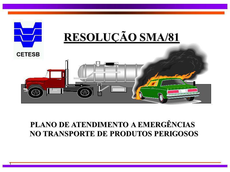 1 RESOLUÇÃO SMA/81 PLANO DE ATENDIMENTO A EMERGÊNCIAS NO TRANSPORTE DE PRODUTOS PERIGOSOS