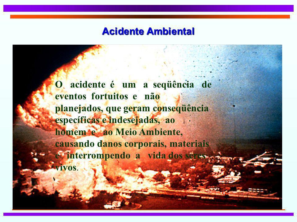 Acidente Ambiental O acidente é um a seqüência de eventos fortuitos e não planejados, que geram conseqüência específicas e indesejadas, ao homem e ao