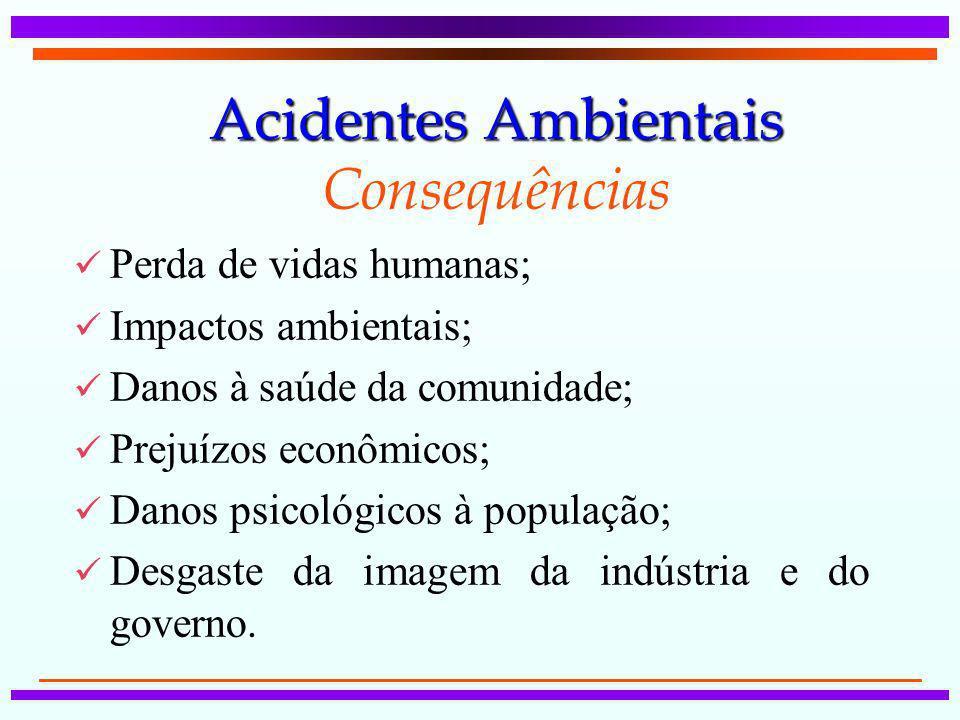 Acidentes Ambientais Acidentes Ambientais Consequências Perda de vidas humanas; Impactos ambientais; Danos à saúde da comunidade; Prejuízos econômicos
