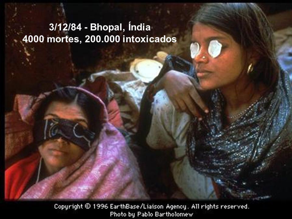 3/12/84 - Bhopal, Índia 4000 mortes, 200.000 intoxicados