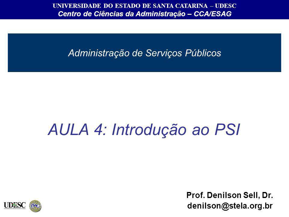 Administração de Serviços Públicos UNIVERSIDADE DO ESTADO DE SANTA CATARINA – UDESC Centro de Ciências da Administração – CCA/ESAG AULA 4: Introdução