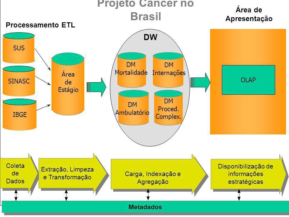 Coleta de Dados Extração, Limpeza e Transformação Carga, Indexação e Agregação Disponibilização de informações estratégicas Metadados Projeto Câncer n