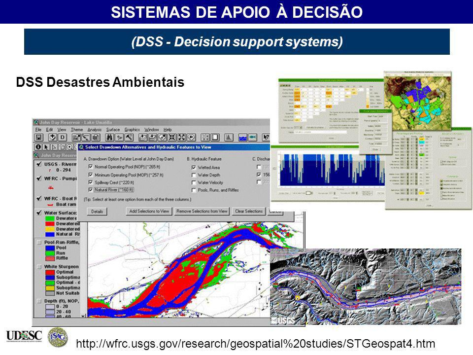 (DSS - Decision support systems) SISTEMAS DE APOIO À DECISÃO (DSS - Decision support systems) DSS Desastres Ambientais http://wfrc.usgs.gov/research/g