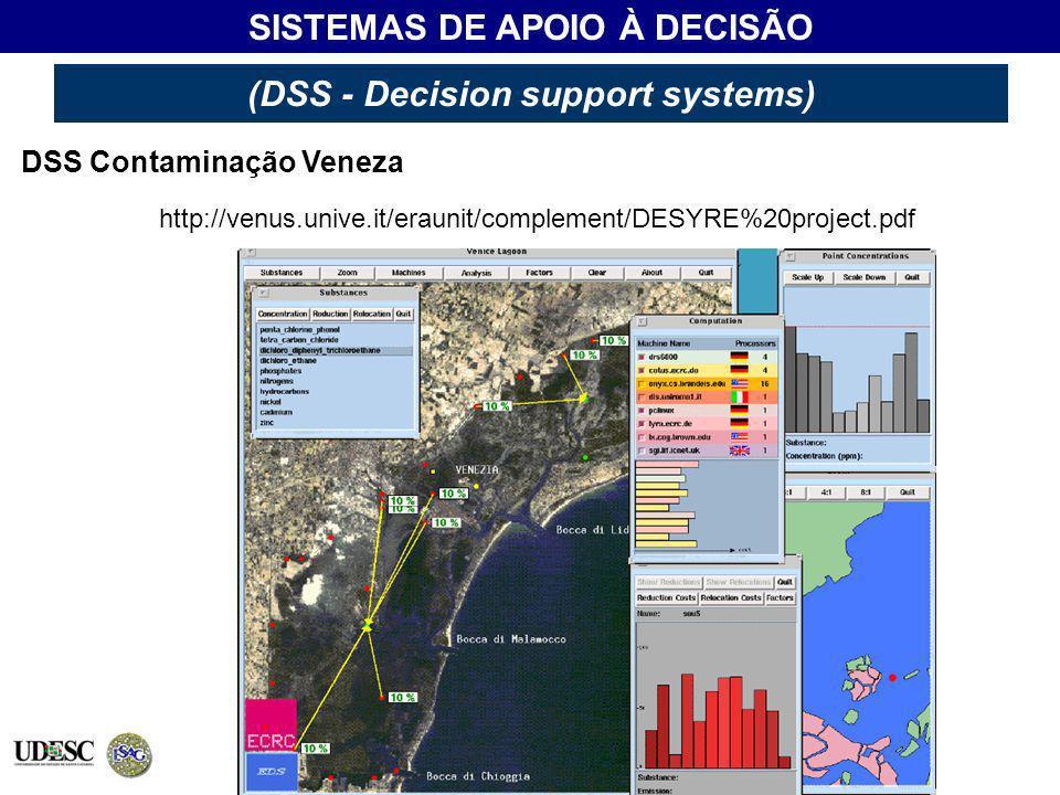 SISTEMAS DE APOIO À DECISÃO (DSS - Decision support systems) DSS Contaminação Veneza http://venus.unive.it/eraunit/complement/DESYRE%20project.pdf