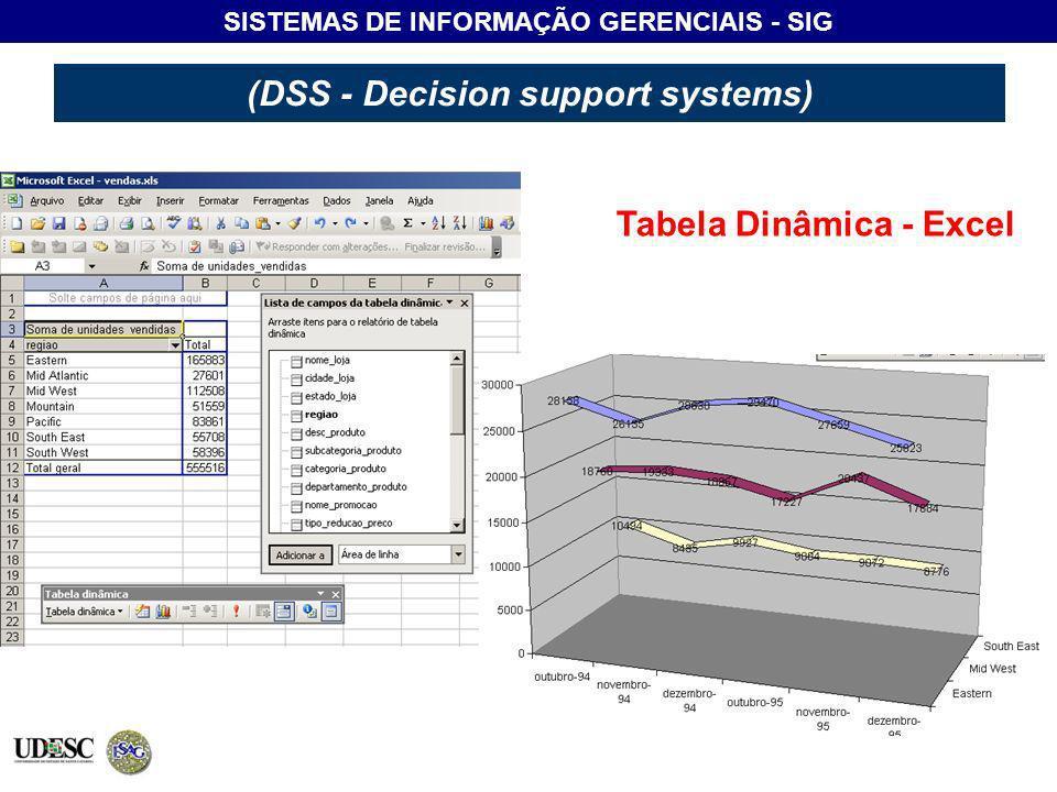SISTEMAS DE INFORMAÇÃO GERENCIAIS - SIG (DSS - Decision support systems) Tabela Dinâmica - Excel