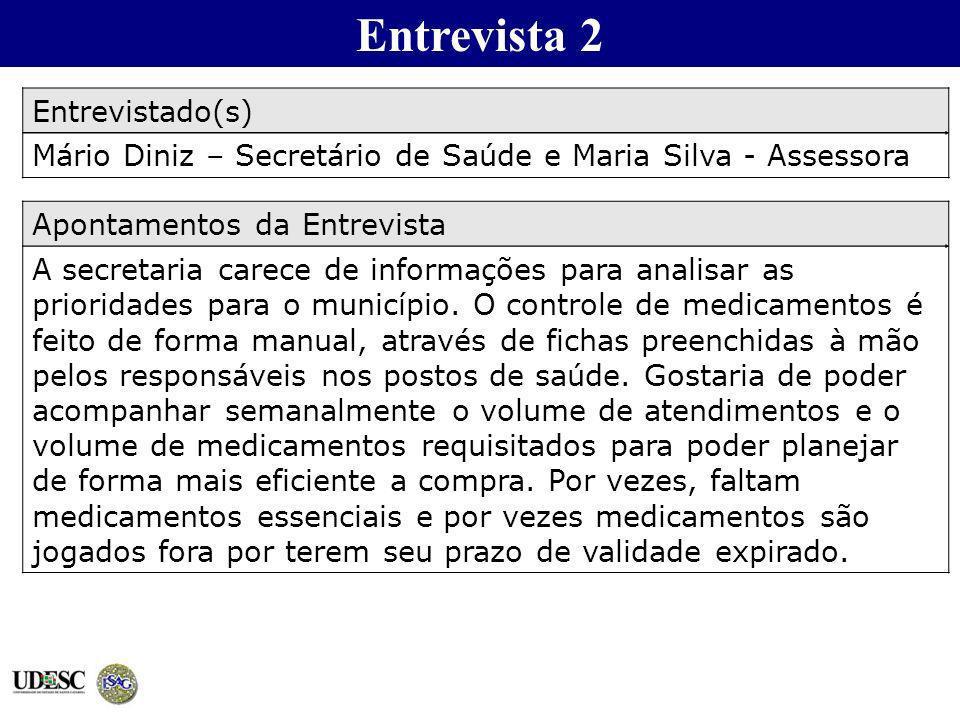 Entrevista 2 Entrevistado(s) Mário Diniz – Secretário de Saúde e Maria Silva - Assessora Apontamentos da Entrevista A secretaria carece de informações