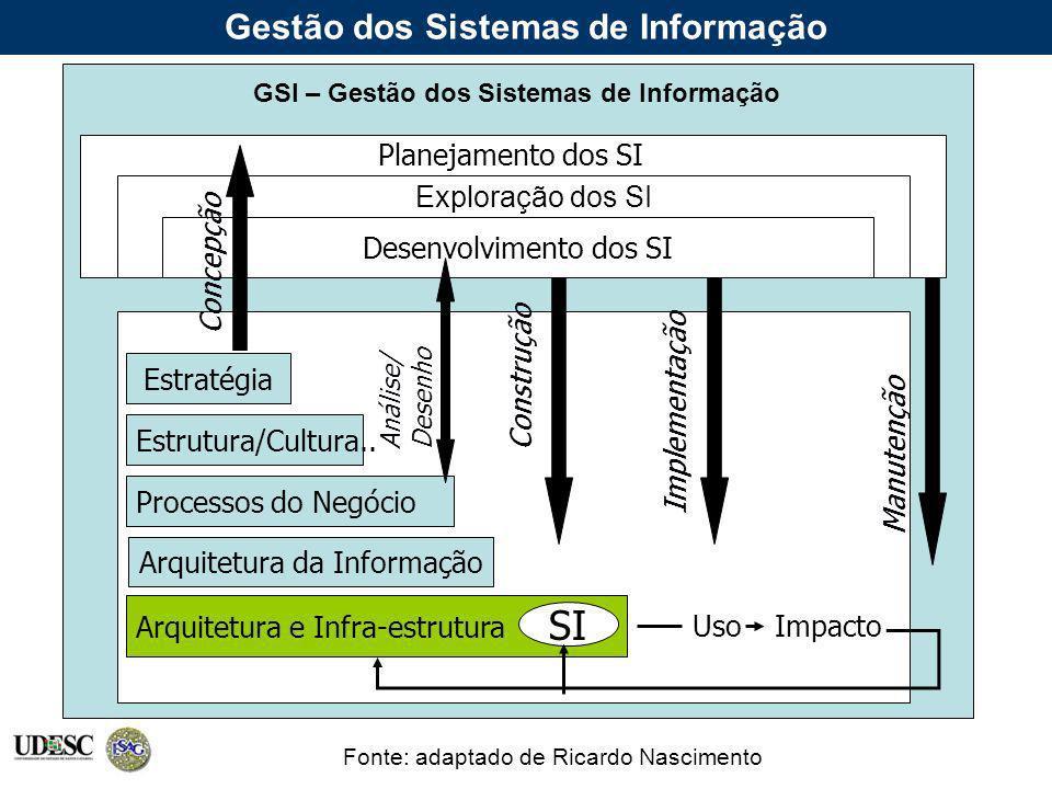Gestão dos Sistemas de Informação Fonte: adaptado de Ricardo Nascimento Desenvolvimento dos SI Estratégia Estrutura/Cultura.. Processos do Negócio Arq