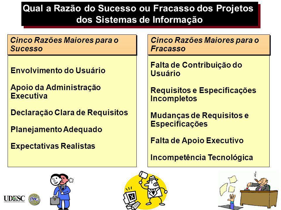 Qual a Razão do Sucesso ou Fracasso dos Projetos dos Sistemas de Informação Envolvimento do Usuário Apoio da Administração Executiva Declaração Clara