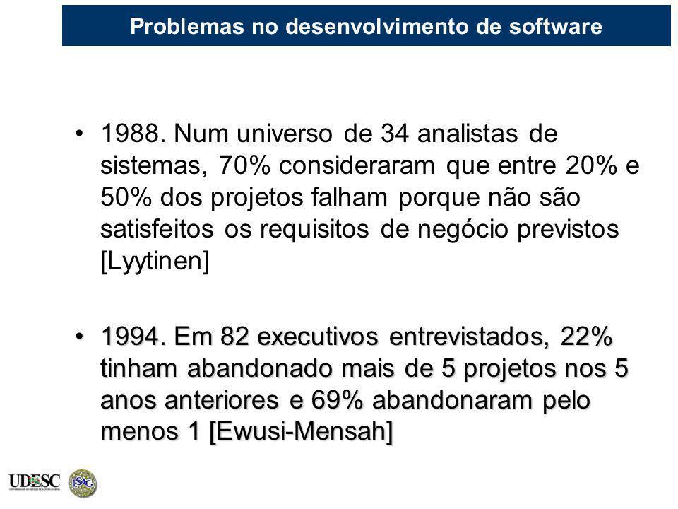 Problemas no desenvolvimento de software 1988. Num universo de 34 analistas de sistemas, 70% consideraram que entre 20% e 50% dos projetos falham porq