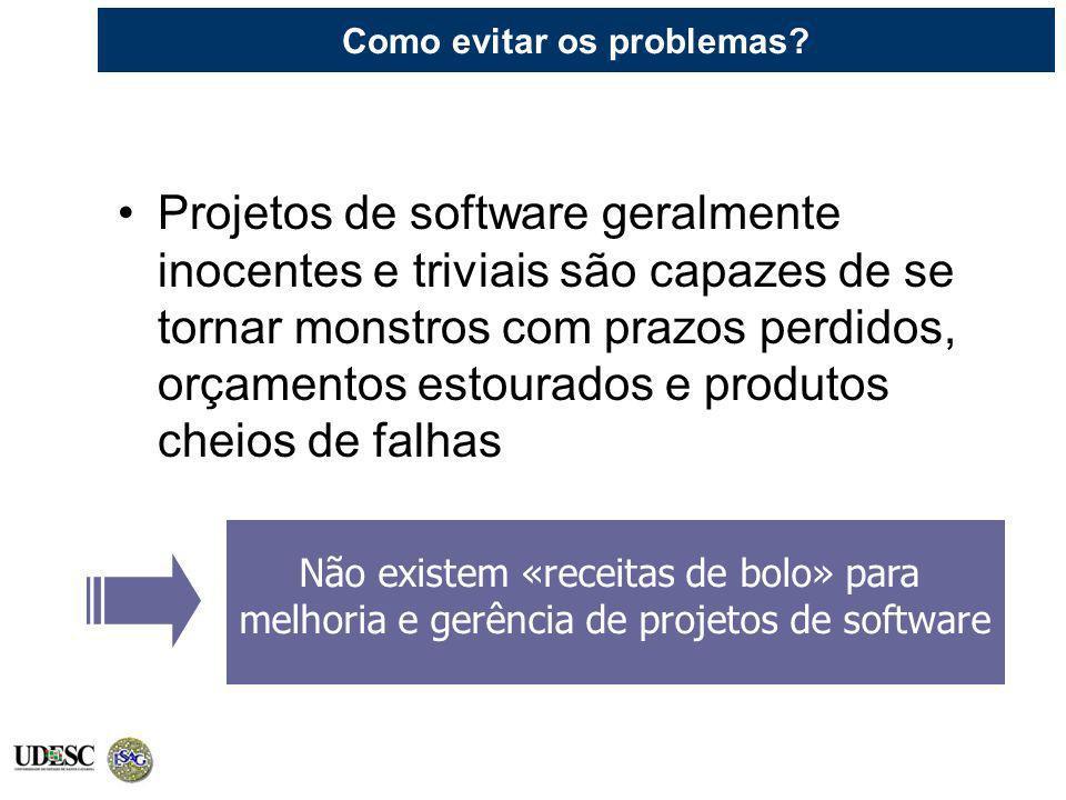 Como evitar os problemas? Projetos de software geralmente inocentes e triviais são capazes de se tornar monstros com prazos perdidos, orçamentos estou