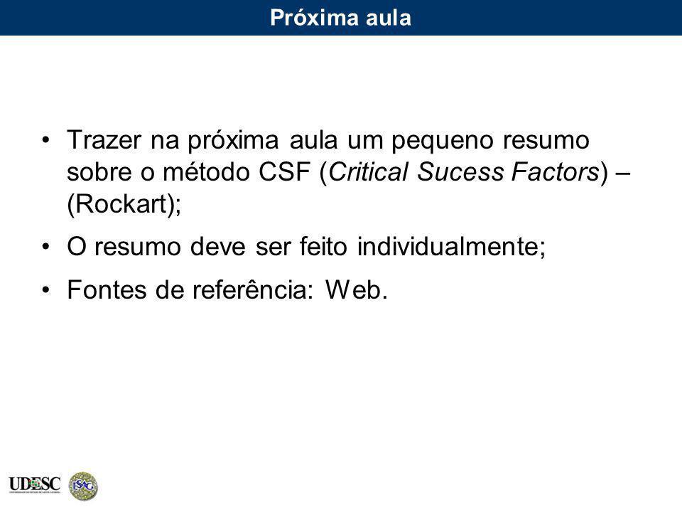 Próxima aula Trazer na próxima aula um pequeno resumo sobre o método CSF (Critical Sucess Factors) – (Rockart); O resumo deve ser feito individualment