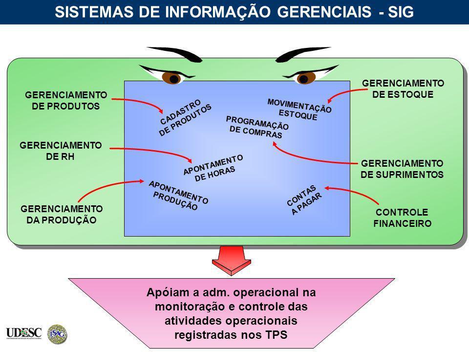 Apóiam a adm. operacional na monitoração e controle das atividades operacionais registradas nos TPS SISTEMAS DE INFORMAÇÃO GERENCIAIS - SIG CADASTRO D