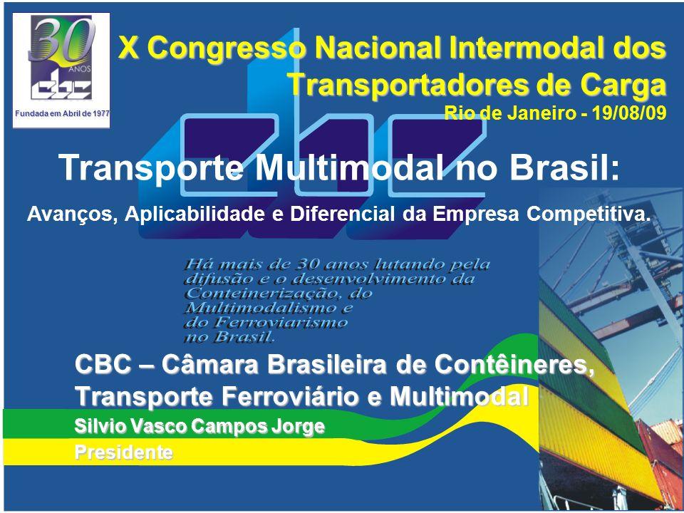 Movimentação de Contêineres nas Ferrovias Brasileiras Projeção de 10% Fonte: ANTF – Associação Nacional dos Transportadores Ferroviários.