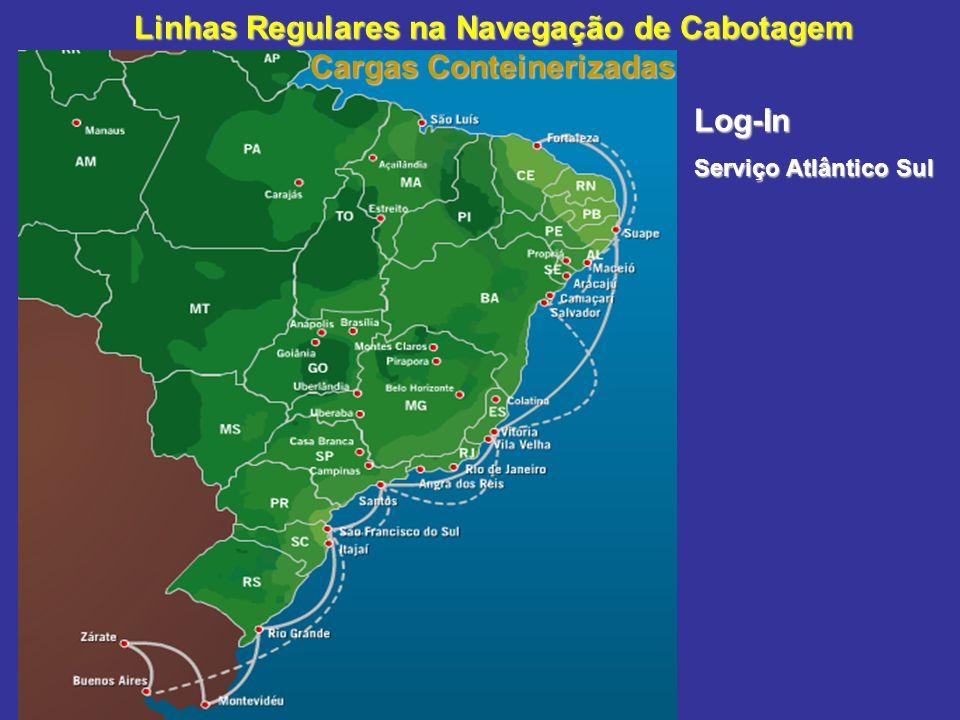 Linhas Regulares na Navegação de Cabotagem Cargas Conteinerizadas Log-In Serviço Atlântico Sul