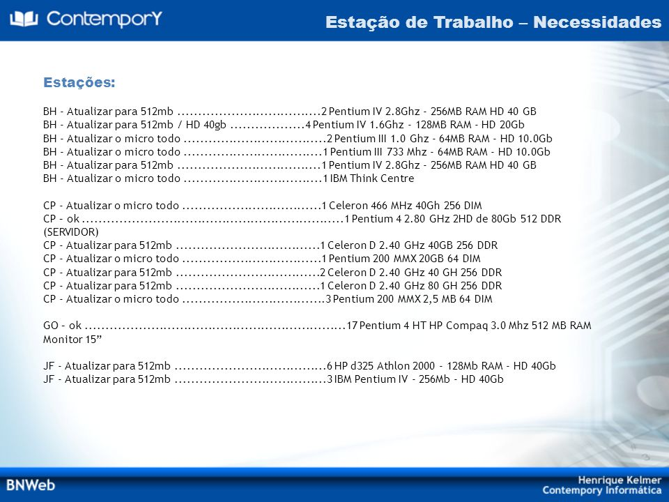 Estação de Trabalho – Necessidades Estações: BH - Atualizar para 512mb...................................2 Pentium IV 2.8Ghz - 256MB RAM HD 40 GB BH -