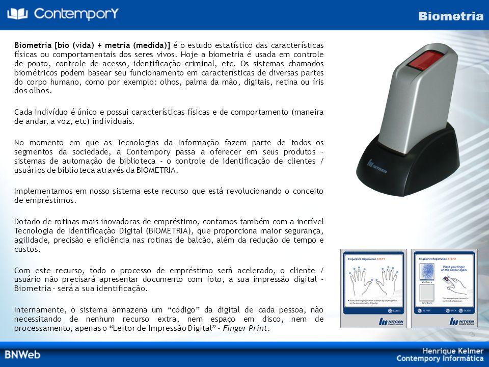 Biometria [bio (vida) + metria (medida)] é o estudo estatístico das características físicas ou comportamentais dos seres vivos. Hoje a biometria é usa