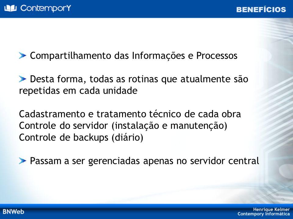 BENEFÍCIOS Compartilhamento das Informações e Processos Desta forma, todas as rotinas que atualmente são repetidas em cada unidade Cadastramento e tra
