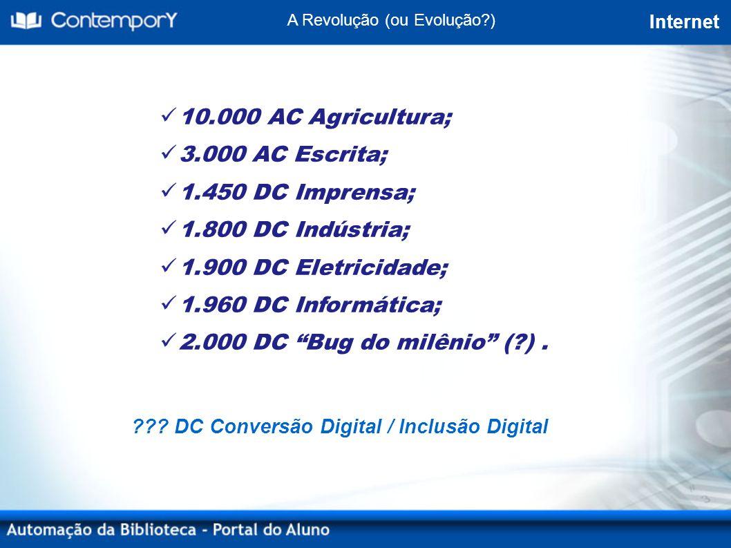 ??? DC Conversão Digital / Inclusão Digital A Revolução (ou Evolução?) Internet 10.000 AC Agricultura; 3.000 AC Escrita; 1.450 DC Imprensa; 1.800 DC I