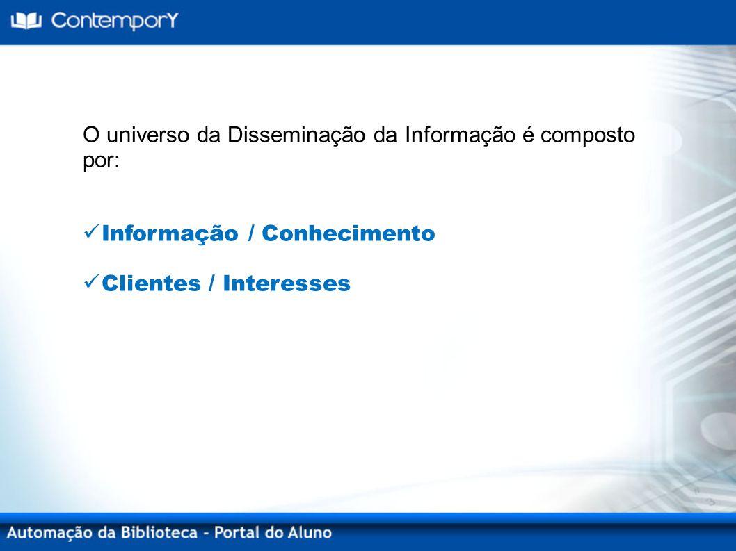 O universo da Disseminação da Informação é composto por: Informação / Conhecimento Clientes / Interesses