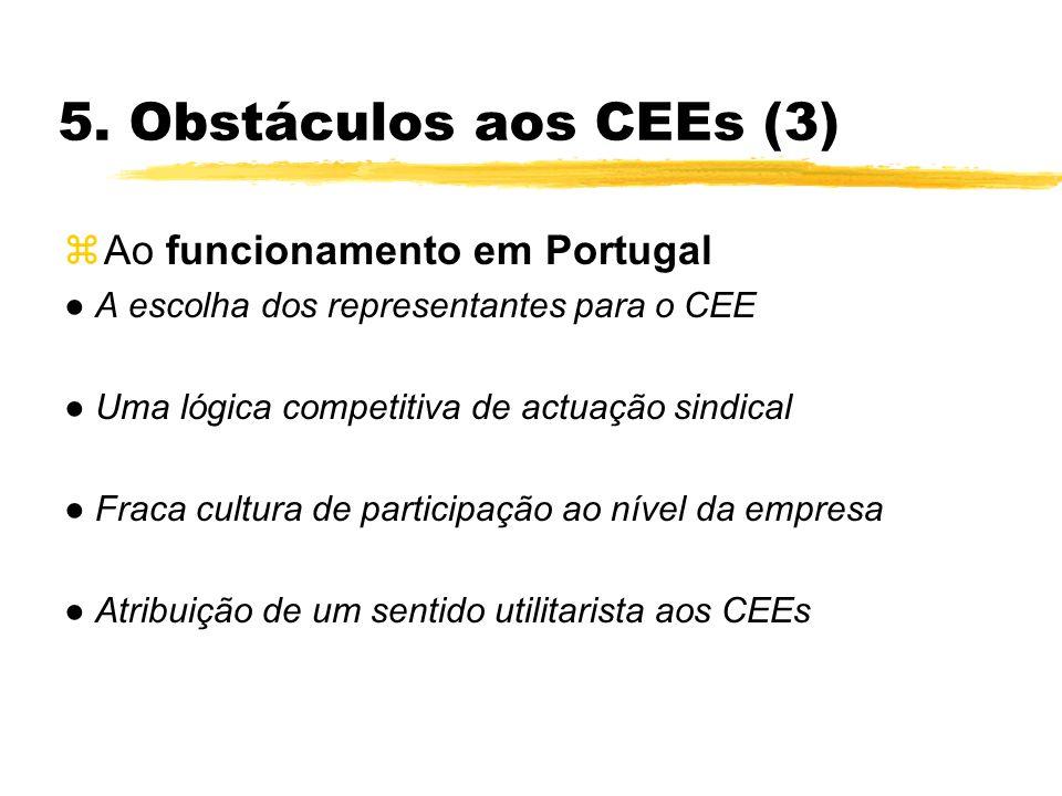5. Obstáculos aos CEEs (3) zAo funcionamento em Portugal A escolha dos representantes para o CEE Uma lógica competitiva de actuação sindical Fraca cul