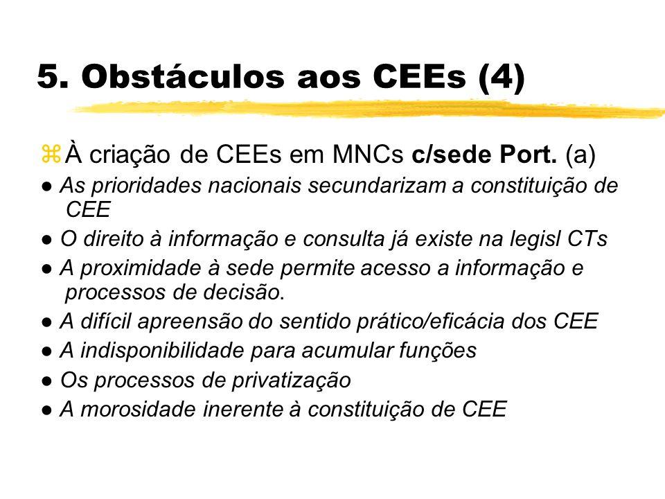 5. Obstáculos aos CEEs (4) zÀ criação de CEEs em MNCs c/sede Port. (a) As prioridades nacionais secundarizam a constituição de CEE O direito à informa