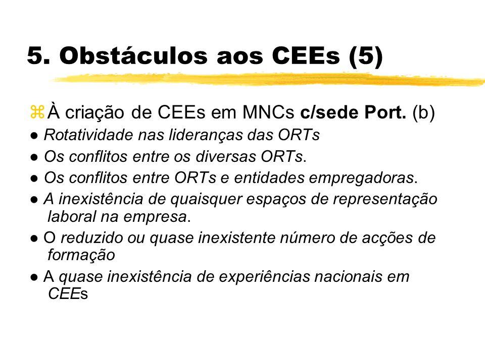 5. Obstáculos aos CEEs (5) zÀ criação de CEEs em MNCs c/sede Port. (b) Rotatividade nas lideranças das ORTs Os conflitos entre os diversas ORTs. Os co