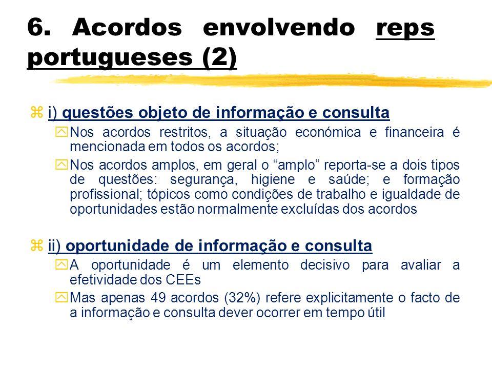 6. Acordos envolvendo reps portugueses (2) z i) questões objeto de informação e consulta y Nos acordos restritos, a situação económica e financeira é