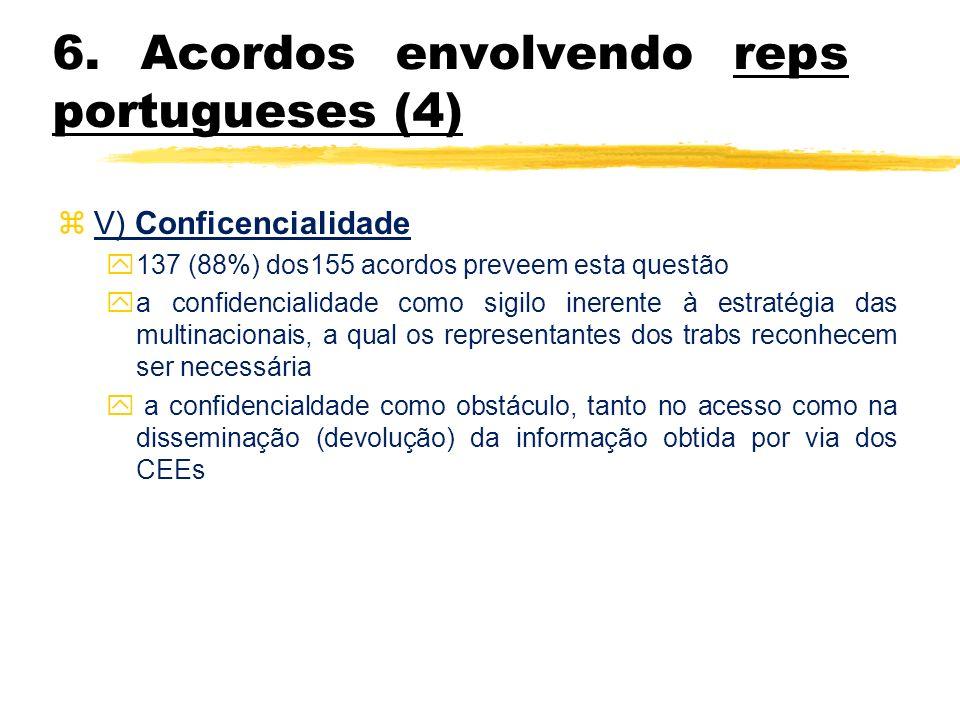 6. Acordos envolvendo reps portugueses (4) z V) Conficencialidade y137 (88%) dos155 acordos preveem esta questão ya confidencialidade como sigilo iner